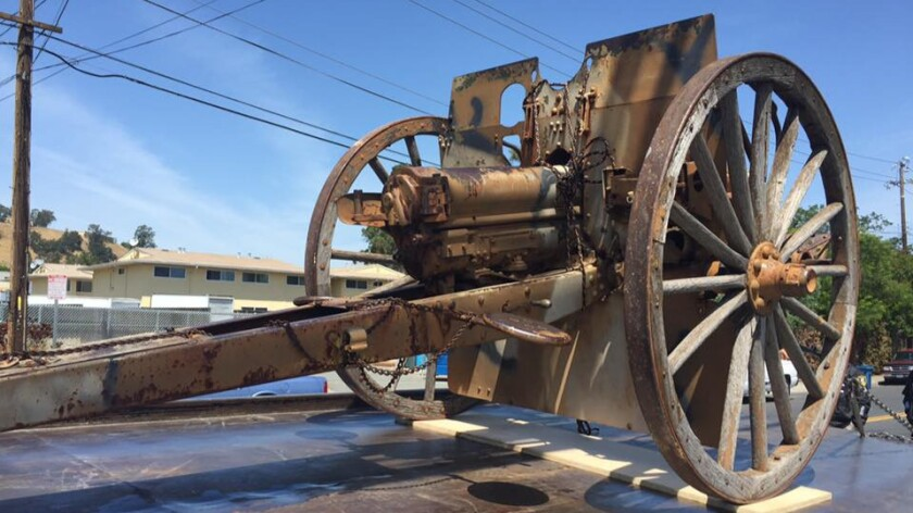 The World War I-era cannon was stolen May 1 from the Veterans Memorial Hall in Richmond.