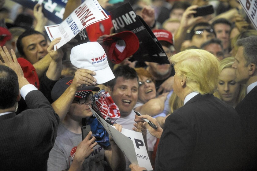 Donald Trump holds a rally in Harrisburg, Pa., on April 21.