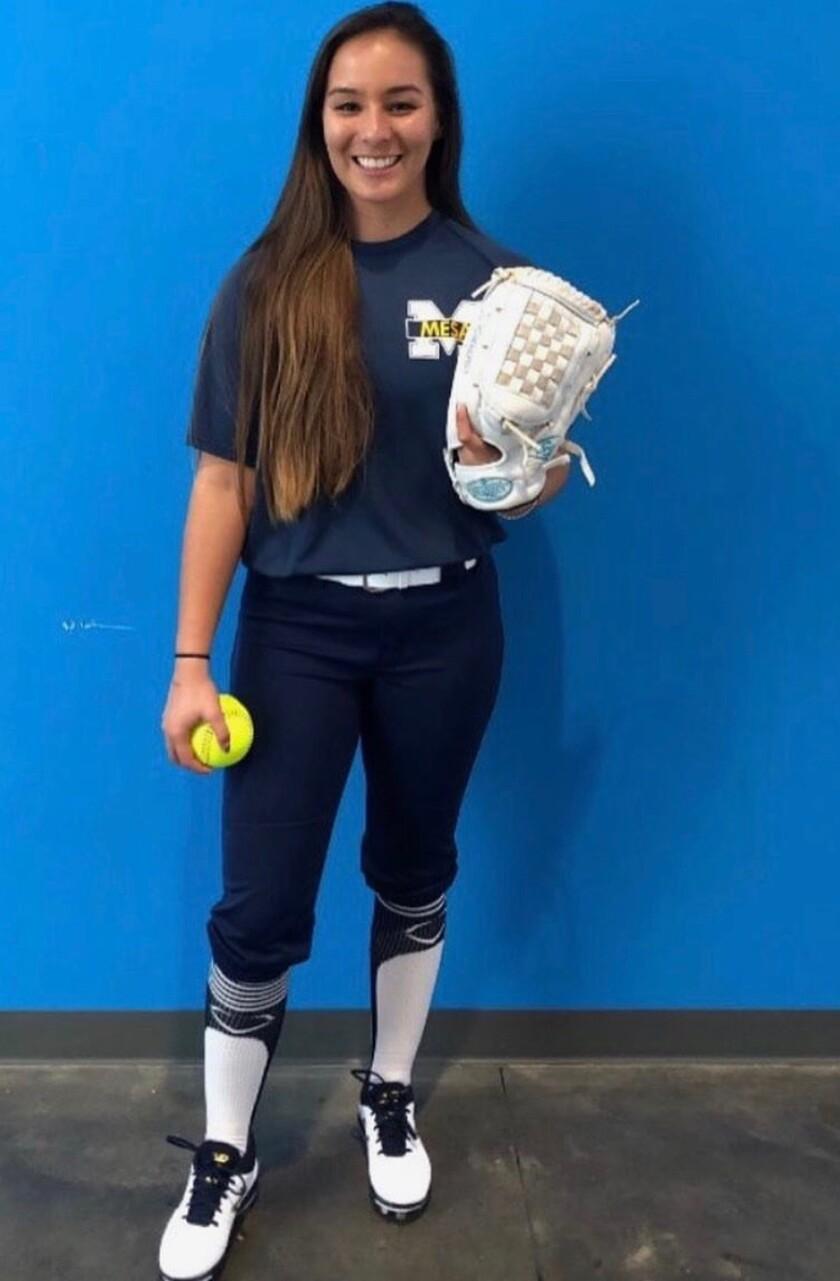Savannah Ames is captain of the San Diego Mesa College women's softball team.