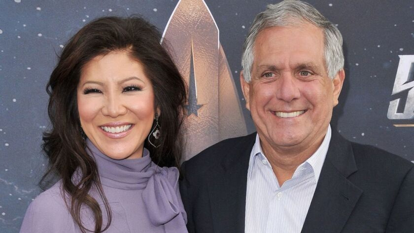 CBS' draft report on an investigation of former CEO Leslie Moonves said his misconduct appeared to lessen after he married TV personality Julie Chen in 2004. Above, the couple last year.