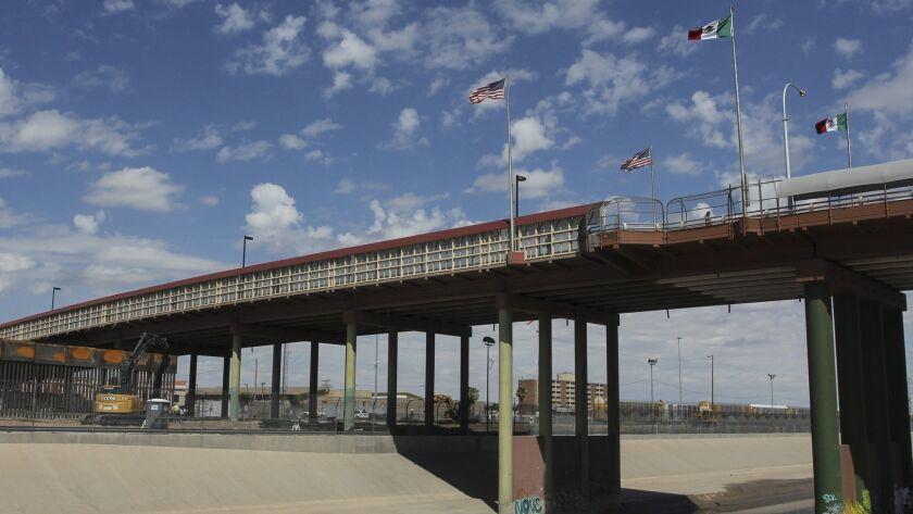 The international bridge on the border between Ciudad Juarez, Mexico, and El Paso, Texas.