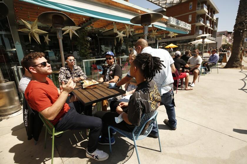 People eat at a Santa Monica restaurant