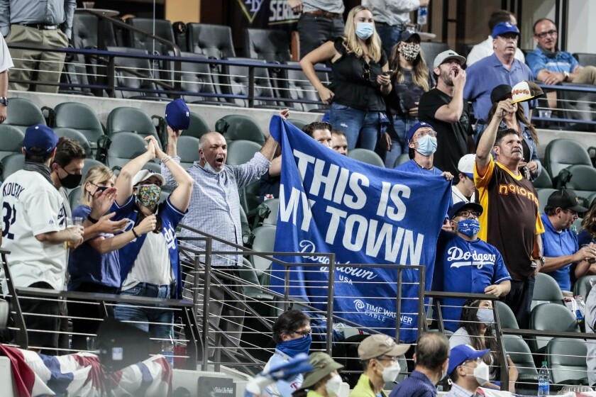 Dodgers fans root for their team in Game 1 of the World Series.