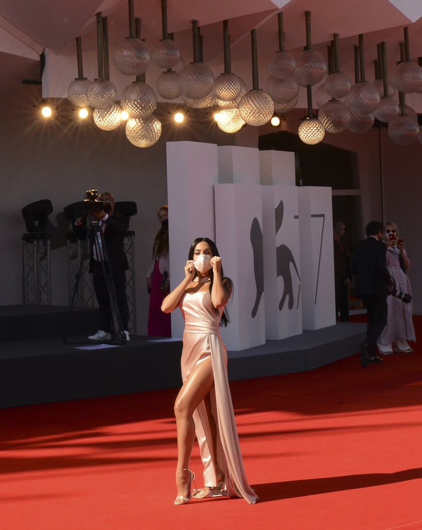 Model Georgina Rodriguez on the red carpet at the Venice International Film Festival at the Venice Lido, Italy.