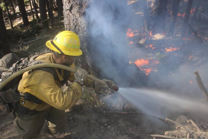 A U.S. Forest Service crew member hoses down flames on the northwest flank of the August Complex fire.