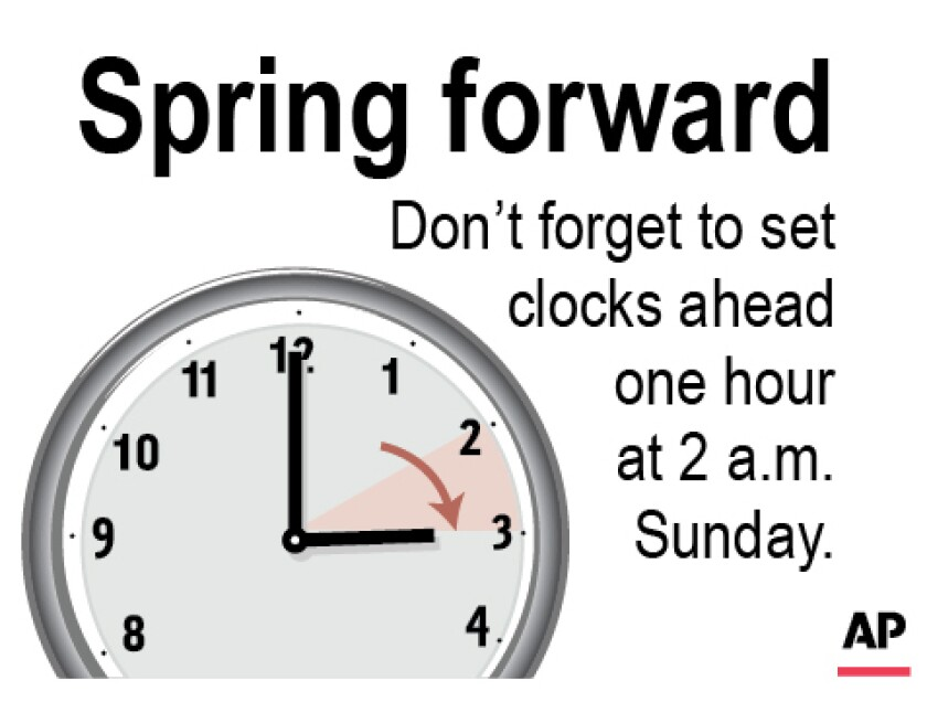 Graphic to be used as a reminder to turn the clocks forward one hour Sunday March 8 at 2 a.m.;