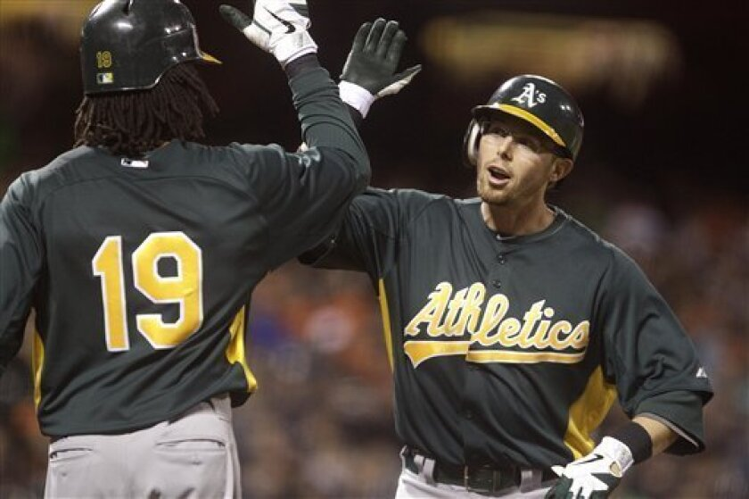 Oakland Athletics' Eric Sogard, right, is congratulated byJemile Weeks (19) after Sogard hit a two-run home run off San Francisco Giants' Madison Bumgarner during the third inning of an exhibition baseball game Monday, April 2, 2012, in San Francisco. (AP Photo/Ben Margot)