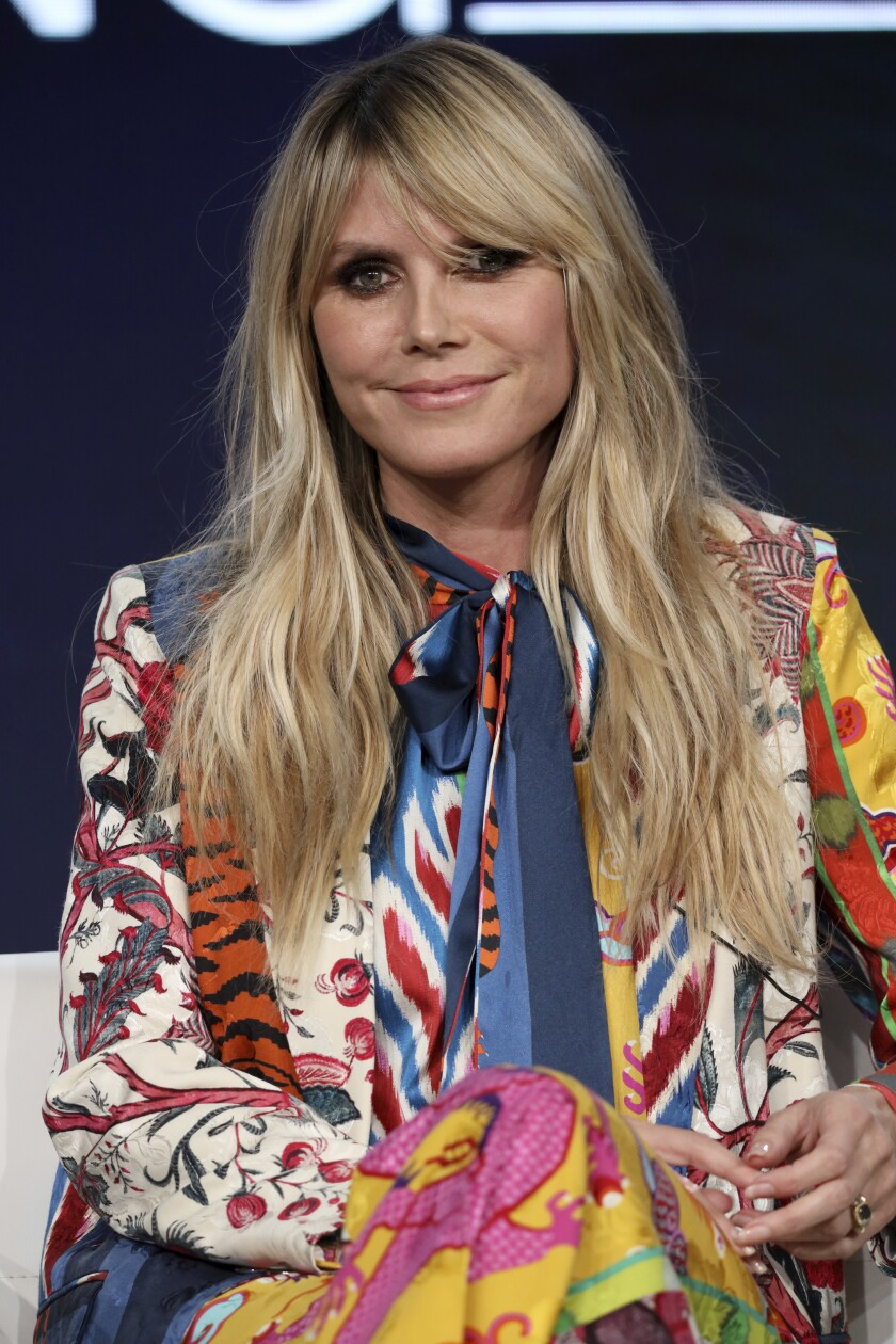 "Heidi Klum appears at the ""Making the Cut"" panel during the Amazon TCA 2020 Winter Press Tour at the Langham Huntington on Tuesday, Jan. 14, 2020, in Pasadena, Calif. (Photo by Willy Sanjuan/Invision/AP)"