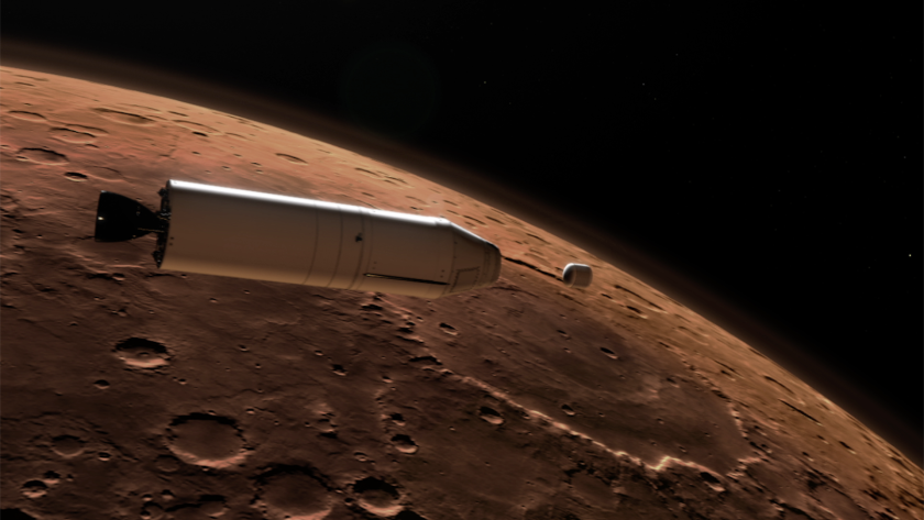 A rocket carries a container of sample tubes into Martian orbit