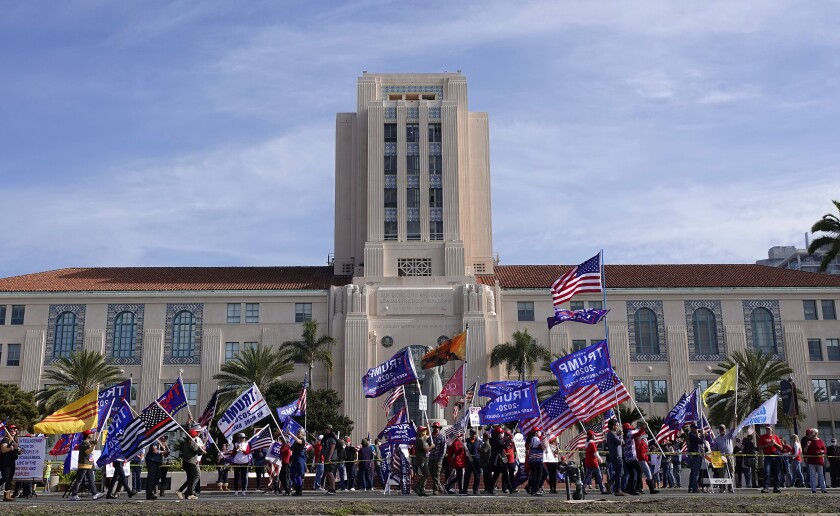 President Donald Trump supporters gather for a rally in front the County Administration Building in San Diego