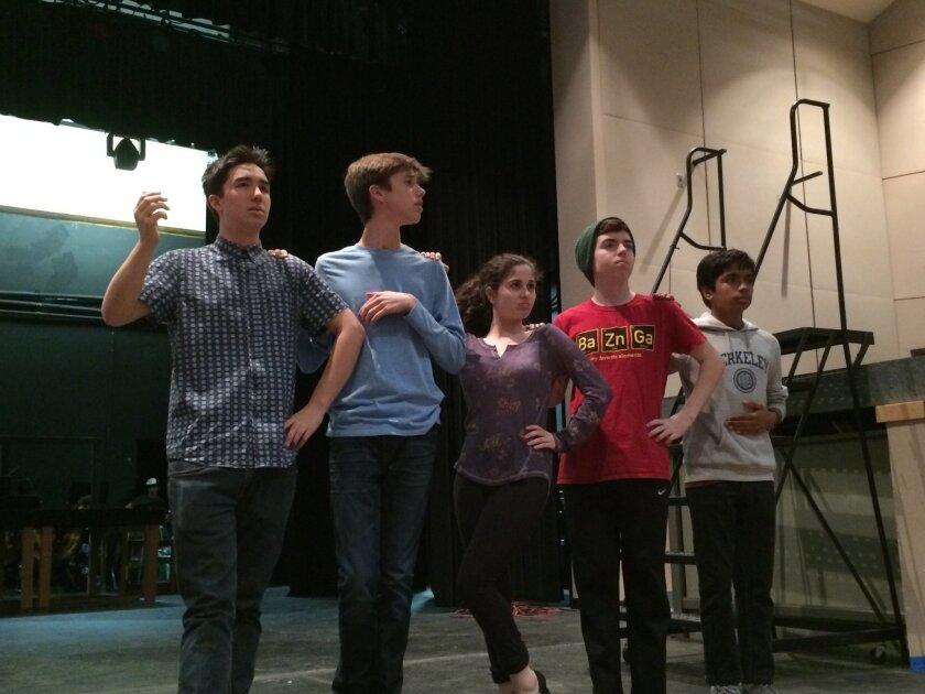 L-R: Cameron Chang, Sammy Lurie, Halle Hoffman, Thomas Ferrar, Ravi Gopinathan during rehearsals for 'Evita.'