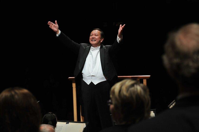 Jahja Ling conducting the San Diego Symphony.  Photo credit:  Brianna Houston