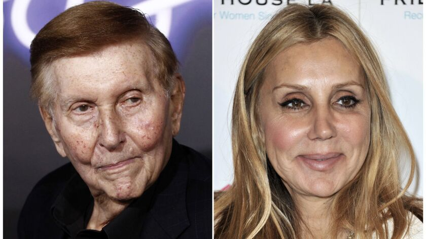 "This combination photo shows Sumner Redstone at the premiere of ""Footloose"" in Los Angeles on Oct. 3"