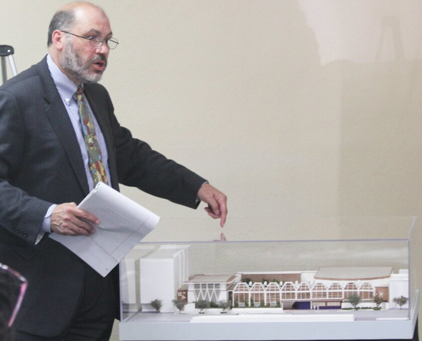Ray Porfilio of Epstein Joslin Architects fields questions about La Jolla Music Society's new performing arts center during the Aug. 10 meeting of La Jolla's Planned District Ordinance committee.