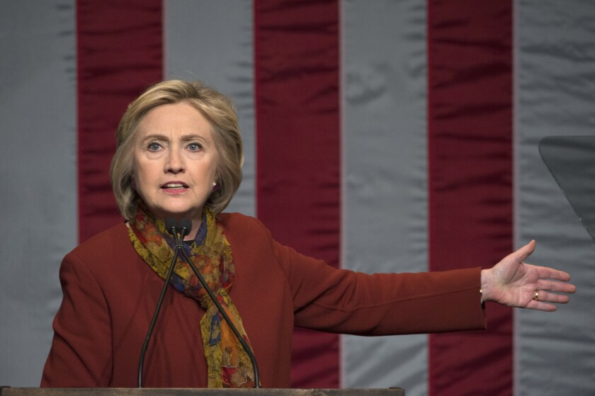 Democratic presidential candidate Hillary Clinton speaks in New York on Feb. 16.