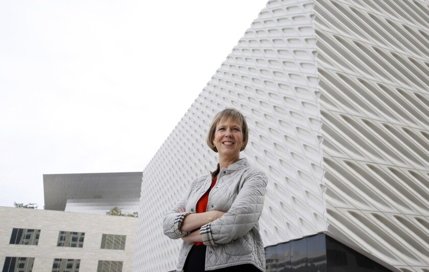 Joanne Heyler, the director of the Broad museum, opening in fall 2015, in front of the museum in downtown Los Angeles.