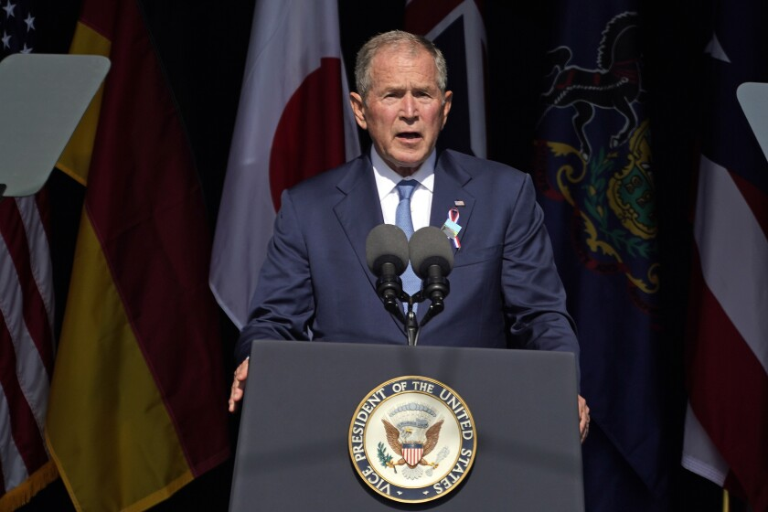 FILE - In this Sept. 11, 2021, file photo former President George W. Bush speaks at the Flight 93 National Memorial in Shanksville, Pa., on the 20th anniversary of the Sept. 11, 2001 attacks. Bush will headline a fundraiser for top Donald Trump critic Liz Cheney next month, turning her reelection race into a proxy war of sorts between the ex-presidents. Bush will be headlining the event in Dallas in October for the Wyoming congresswoman's reelection campaign. (AP Photo/Gene J. Puskar, File)