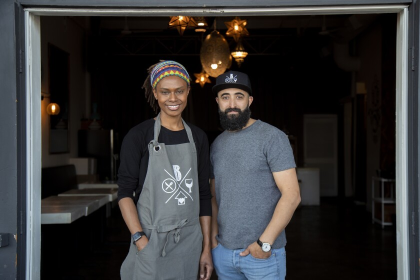 Barsha's Lenora and Adnen Marouani at their Hermosa Beach restaurant.