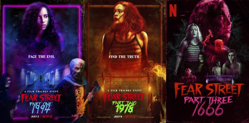 """This combination photo shows promotional art for """"Fear Street,"""" a three-part horror event on Netflix. (Netflix via AP)"""