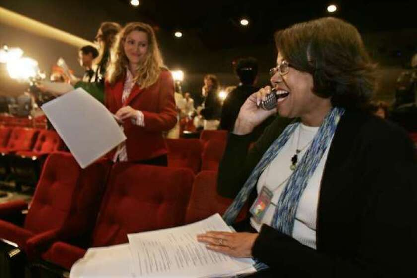 Cheryl Boone Isaacs, right, is the new president of the Academy of Motion Picture Arts and Sciences.