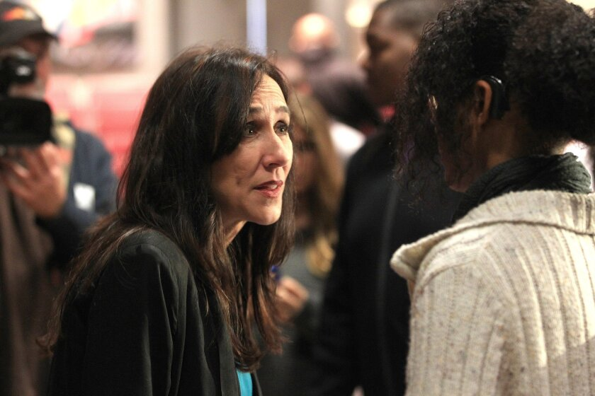 """Gabriela Cowperthwaite, director of the documentary """"Blackfish,"""" spoke to a student at Point Loma High School during a 2014 visit."""