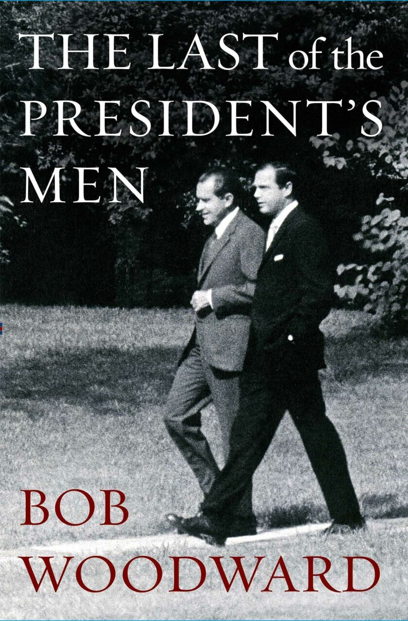 The cover of the book features Richard Nixon strolling across the White House lawn with aide Alexander Butterfield.