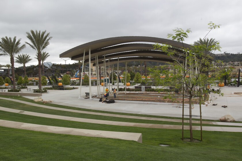 The stage and sitting area at Cloud Amphitheater is the central feature of the Civita Park.