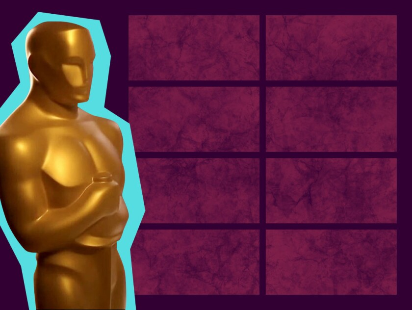 photo illustration of the Oscar statue against a background of eight blank screens