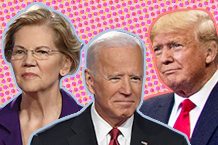 Warren, Biden, and Trump