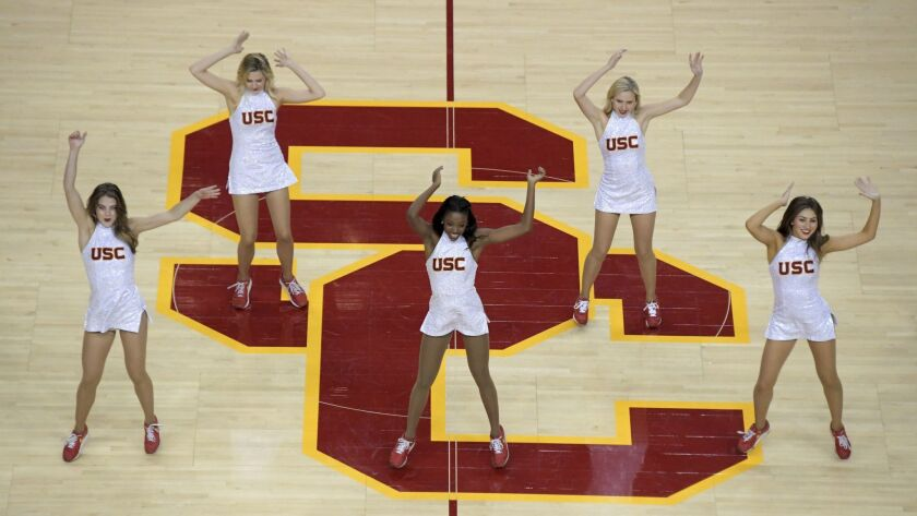 USC Song Girls dance during a game against Long Beach State in November.