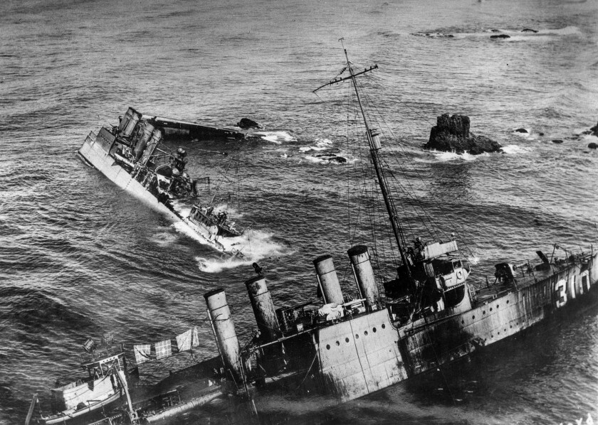 U.S. Navy destroyers on reefs near Point Arguello