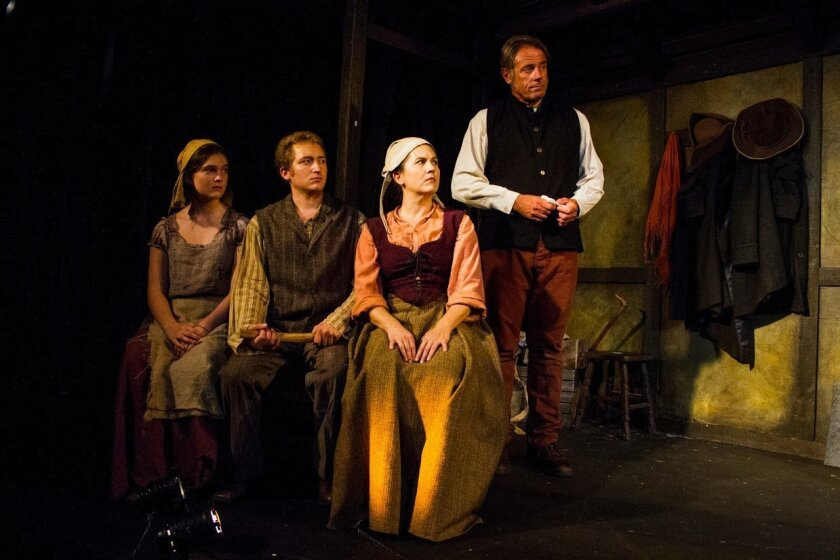 """Olivia Hicks, Nick Young, Wendy Waddell and Christopher Murphy (left to right) in Moxie Theatre's """"A Discourse on the Wonders of the Invisible World."""""""