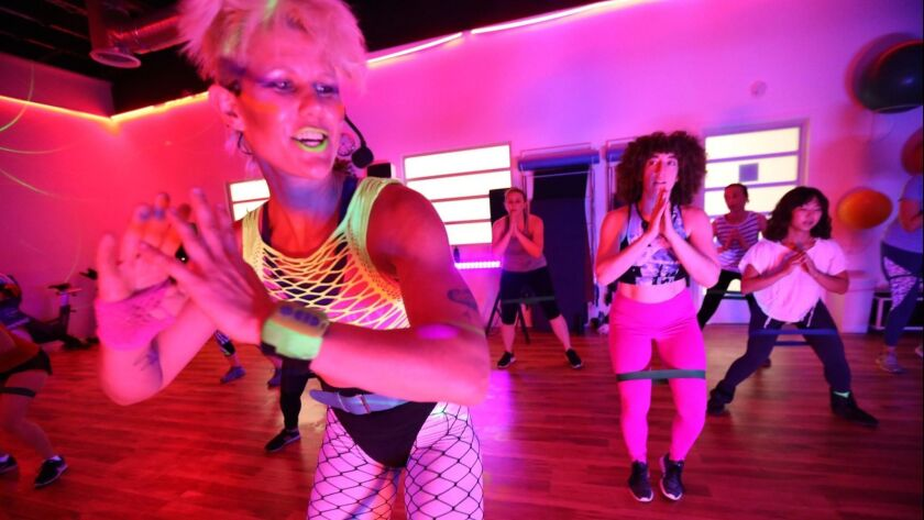 """LOS ANGELES, CA - MAY 29, 2018 - HyperBody, in foreground, leads a, """"Butt Stuff Tuesday's,"""" class as"""
