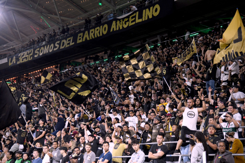 LAFC fans cheer during a match against FC Cincinnati on April 13, 2019.
