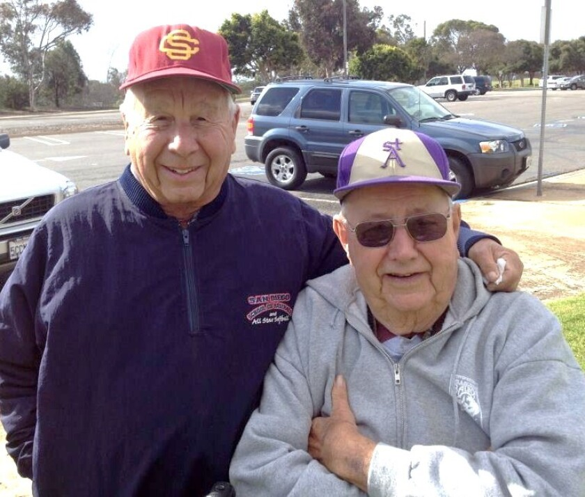 """Bill Whittaker (right) and the late Joe Schloss were known as """"Co-Mayors of Morley Field."""""""