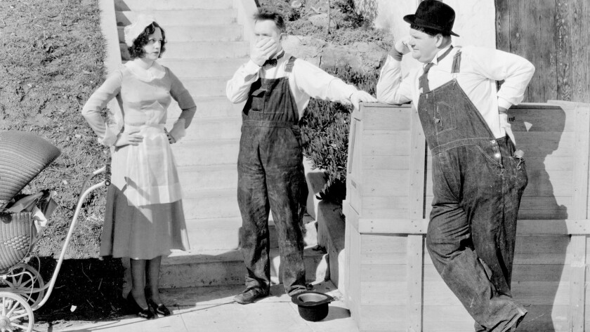 """Stan Laurel and Oliver Hardy in """"The Music Box."""""""