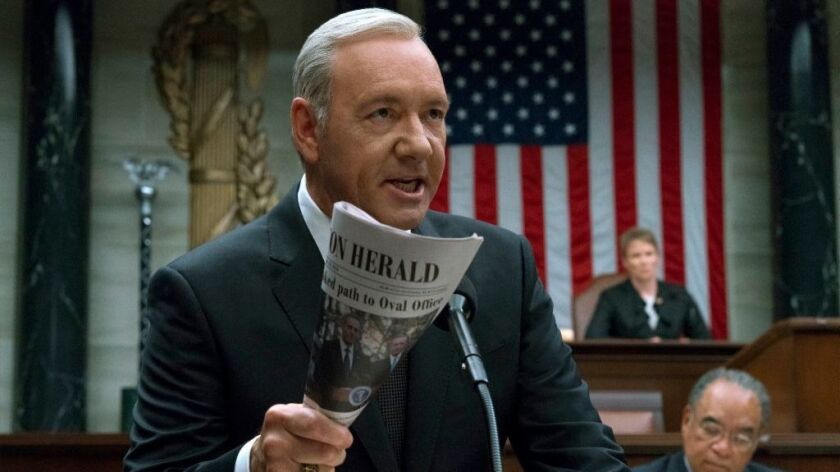 """Kevin Spacey in """"House of Cards,"""" a show on the Emmy bubble."""