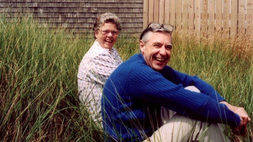 "Joanne and Fred Rogers at their ""Crooked House"" in Nantucket."