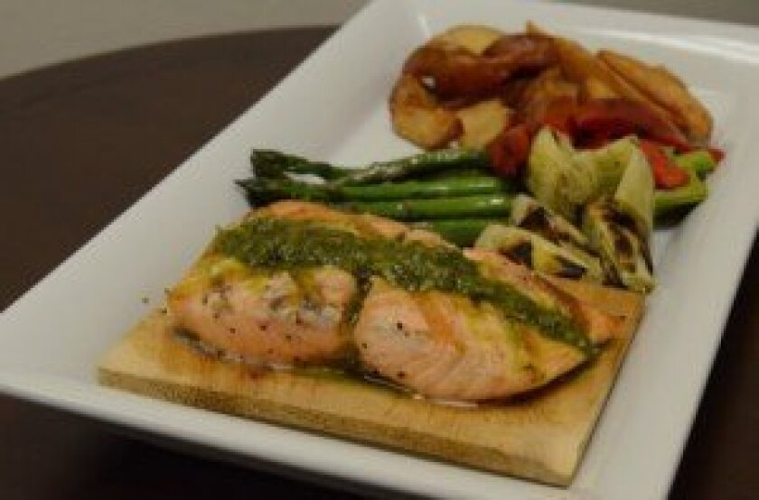 Hickory Plank Salmon  with grilled vegetables  and potatoes PHOTOS By  Kelley Carlson