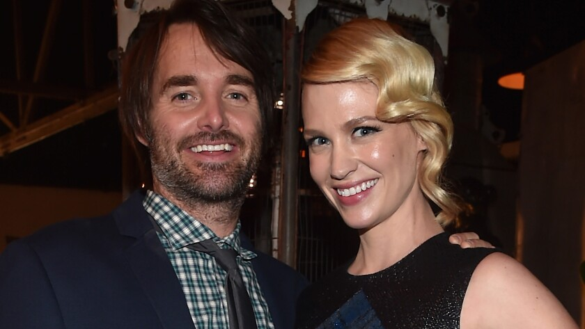 """Will Forte and January Jones at the L.A. after-party for premiere of Fox's """"The Last Man On Earth"""" in February. The costars are reportedly dating."""
