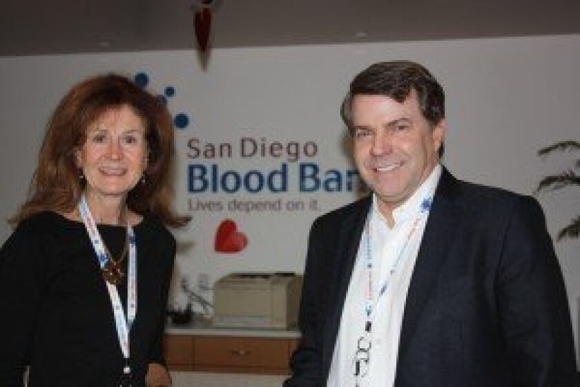 Holly Heaton, San Diego Blood Bank board president, and San Diego Blood Bank CEO David Wellis. Courtesy photo