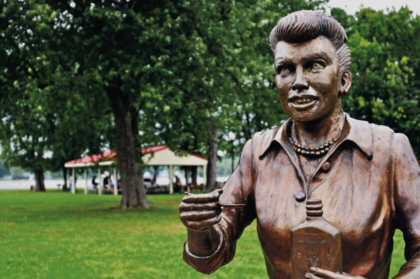 """This is a bronze statue in Lucille Ball's hometown that was intended to look like, well, Lucille Ball. Now the artist is taking responsibility for missing the mark with his """"Scary Lucy."""""""