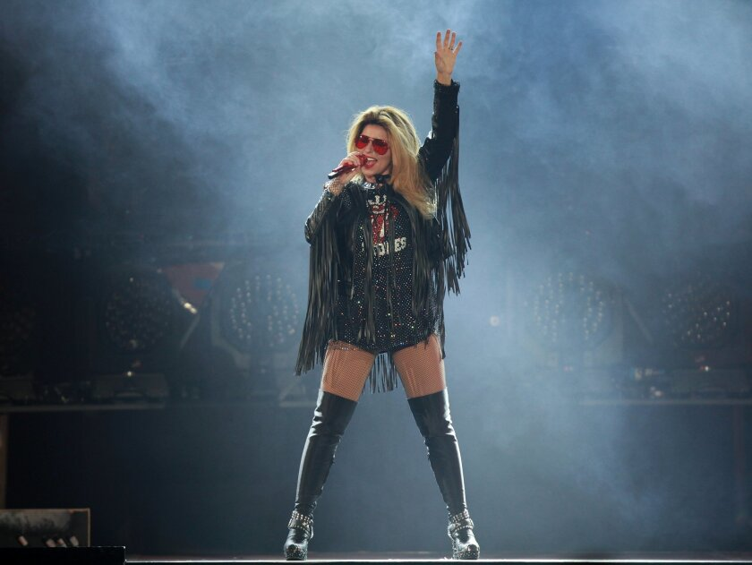 Shania Twain takes center stage at the Valley View Casino Center Saturday.