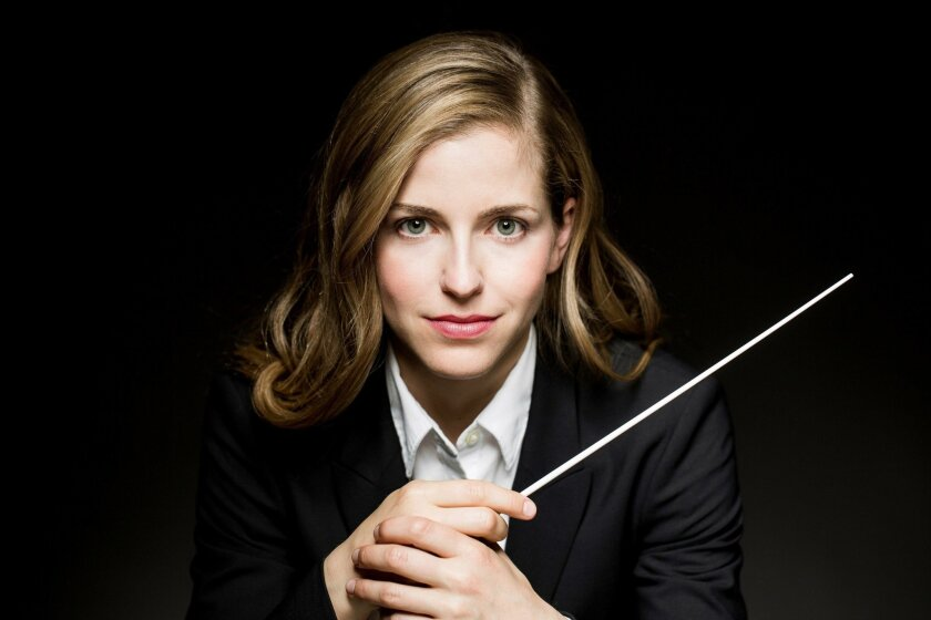 """Karina Canellakis led the San Diego Symphony in her """"Beyond The Score."""" She has an intense and expressive approach to the music."""