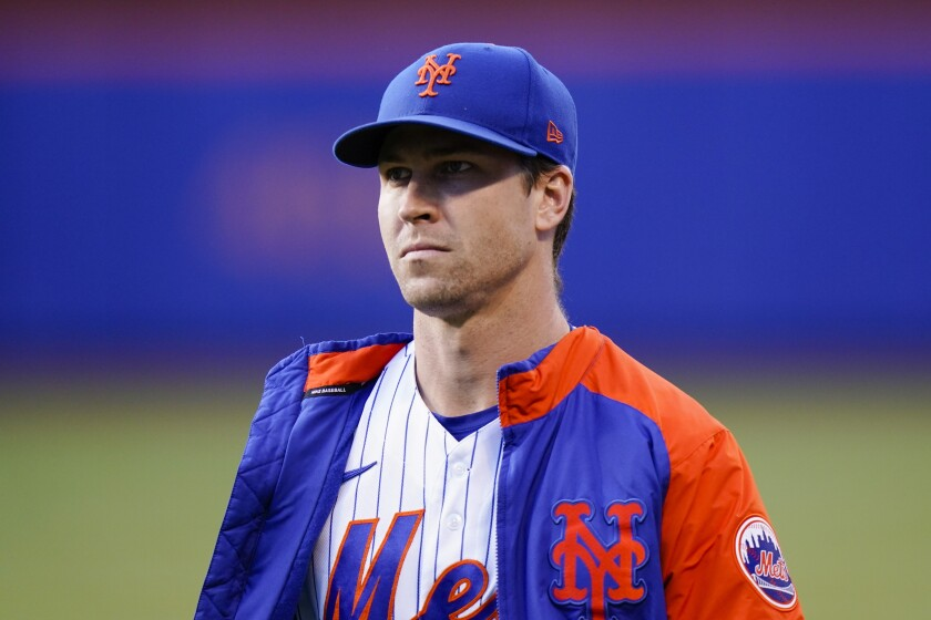 New York Mets starting pitcher Jacob deGrom walks on the field before a baseball game against the Chicago Cubs Wednesday, June 16, 2021, in New York. (AP Photo/Frank Franklin II)