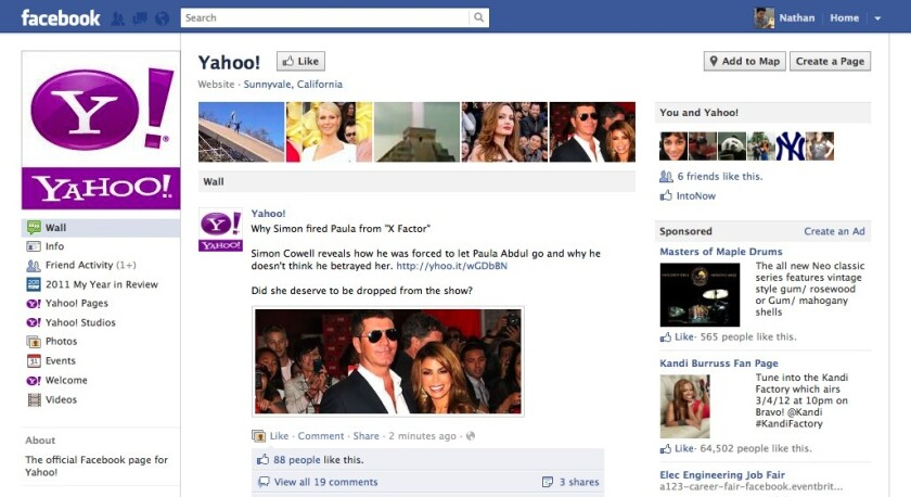 Yahoo on Facebook