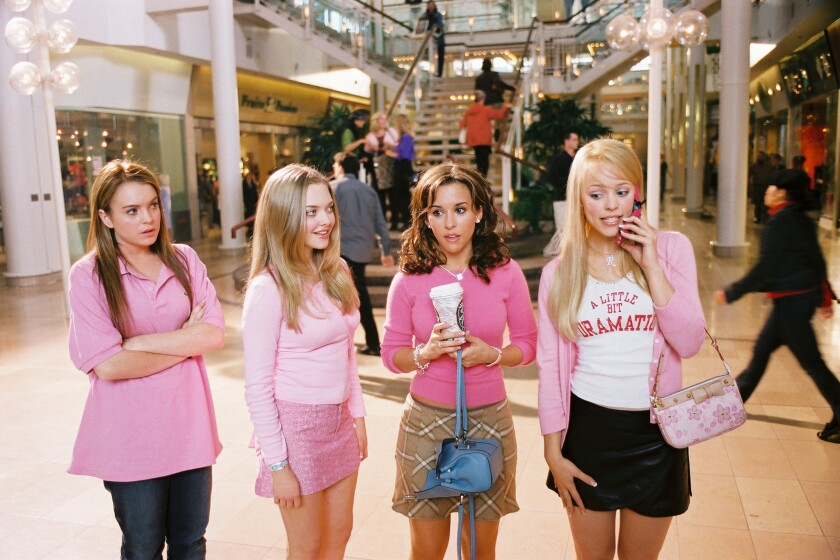"Lindsay Lohan, left, as Cady, Amanda Seyfried as Karen, Lacey Chabert as Gretchen, and Rachel McAdams as Regina in ""Mean Girls."""