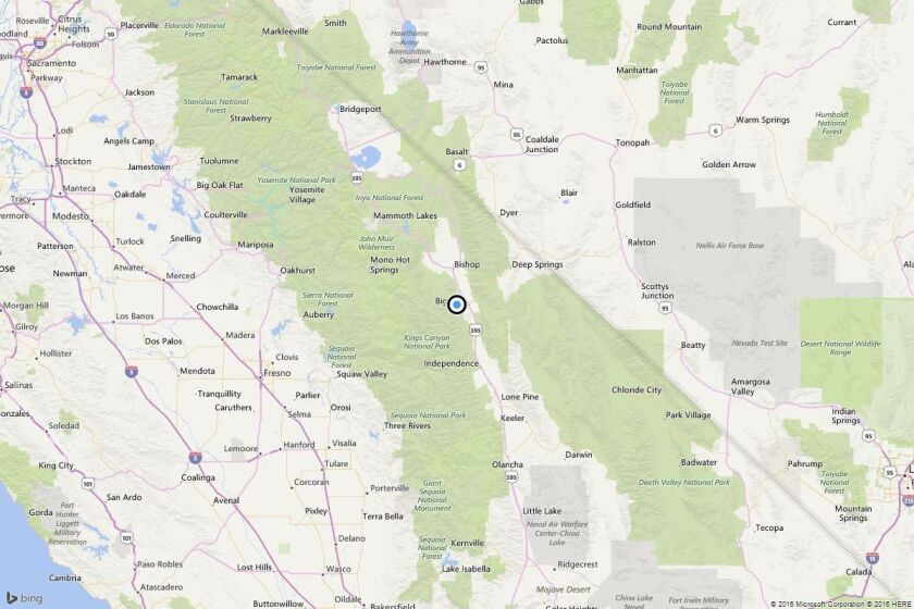 A map shows the approximate location of the epicenter of Wednesday night's quake near Big Pine, Calif.
