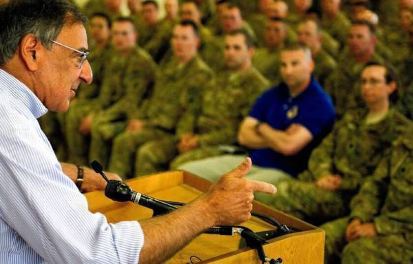Defense Secretary Leon E. Panetta speaks to U.S. troops during his visit to Kabul, the Afghan capital.