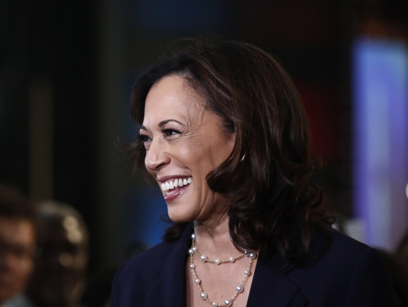 Democratic presidential candidate Sen. Kamala Harris, D-Calif., listens to questions after the Democ